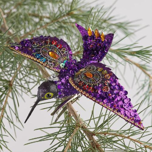 Beaded Hummingbird Ornaments, Set of 4