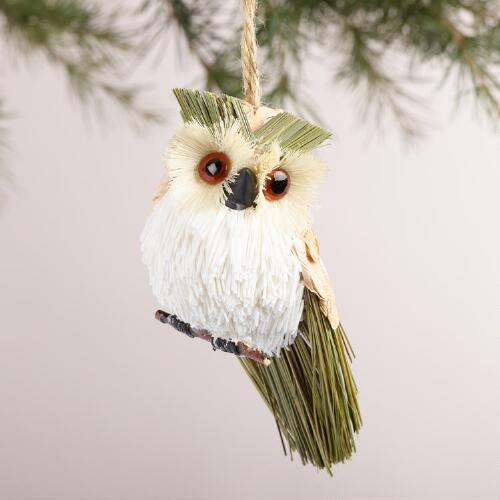 Natural Fiber Owl Ornaments, Set of  3