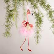 Glass  Newlywed Flamingo Ornaments, Set of 2