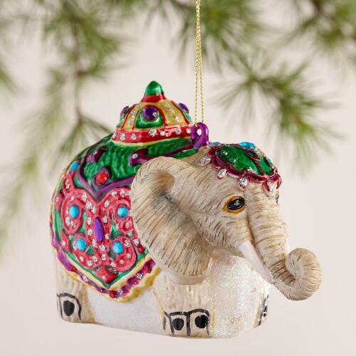 Glass Jewel  Camel and Elephant Ornaments, Set of 2