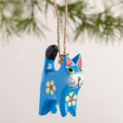 Wood Cat with Flower Ornaments, Set of 4