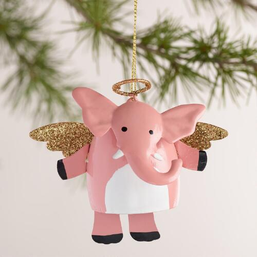 Metal Elephant with Halo and Dangle Legs Ornaments  Set of 3