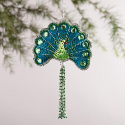 Fabric Peacock Ornaments,  Set of 2