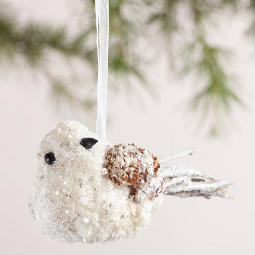 Glittered Twig Bird Ornaments, Set of  2