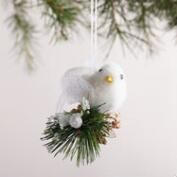 Fabric Bird on Pinecone Ornament