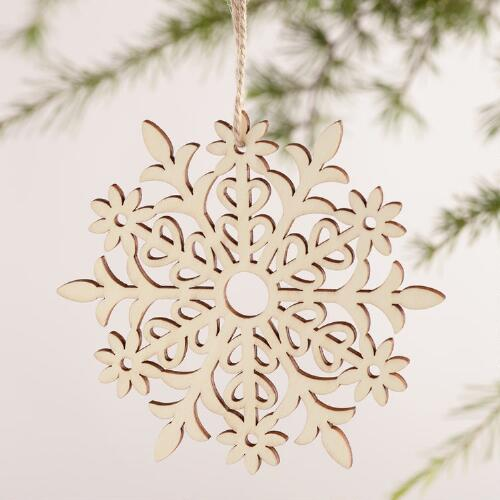 Laser-Cut Wood Snowflake Ornaments, Set of 4