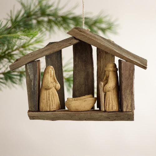 Driftwood  Nativity Scene Ornament
