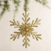 Glittered Twig Snowflake Ornaments,  Set of 3