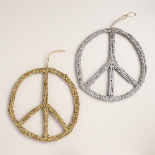 Glittered Twig Peace Sign Wall Decor, Set of 2
