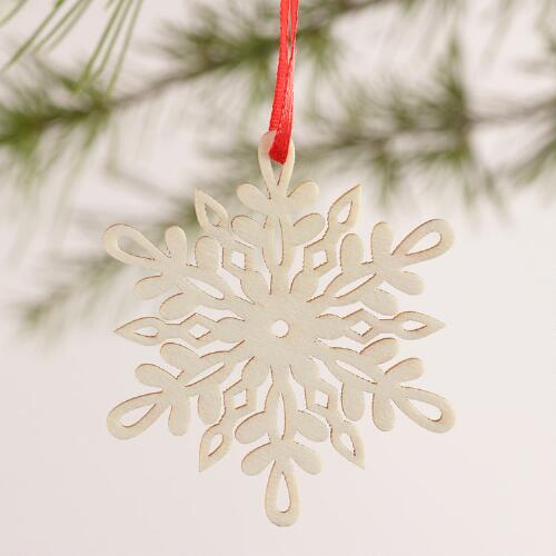 Laser-Cut Wood Snowflake Boxed Ornaments, 12-Pack