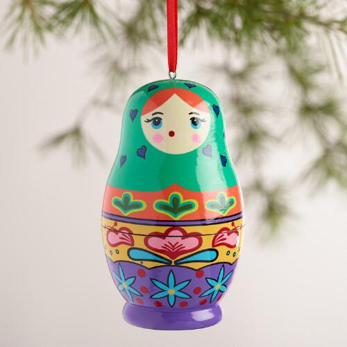 Wood Russian Doll Ornaments,  Set of 3