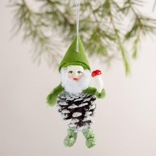 Pinecone Gnome  Ornaments, Set of 3