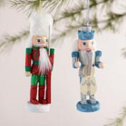 Traditional Wood Nutcracker Boxed Ornaments, Set of 2