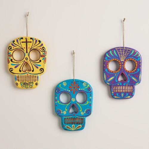 Bright Wood Skull Wall Decor, Set of 3