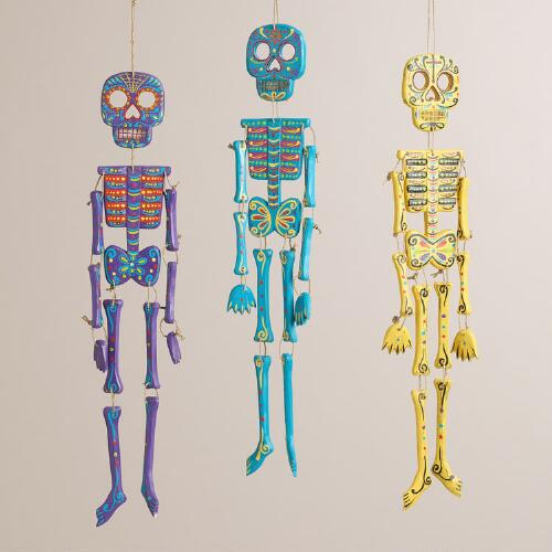 Bright Wood Skeleton Wall Decor, Set of 3