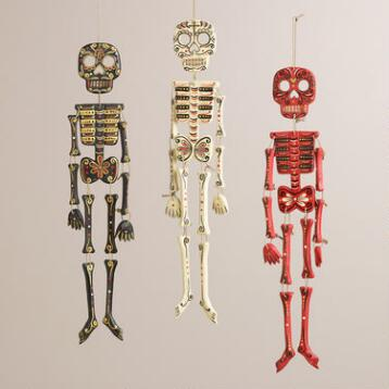 Ivory, Red and Black Wood Skeleton Wall Decor, Set of 3
