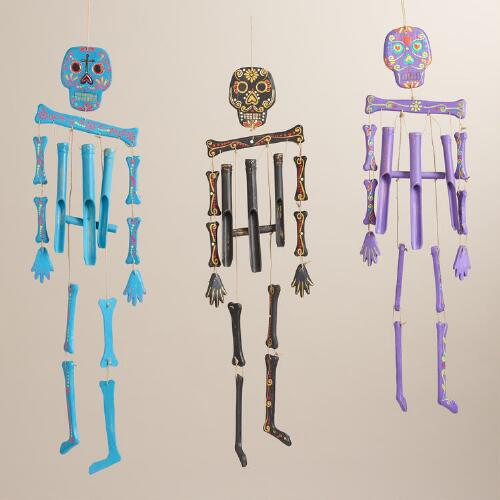 Bright Wood Skeleton Wind Chimes, Set of 3