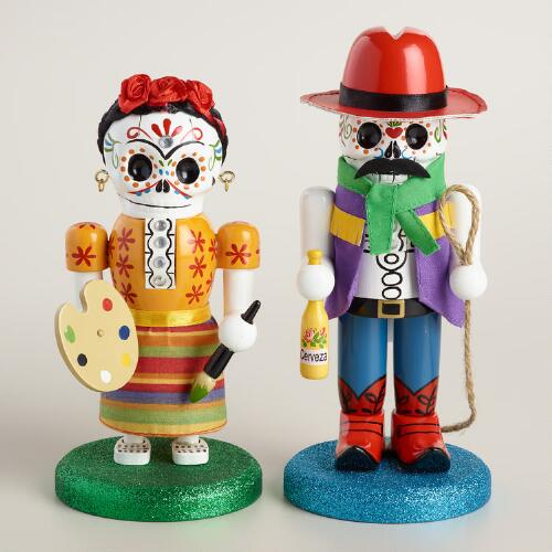 "7"" Wood Los Muertos Nutcrackers, Set of 2"