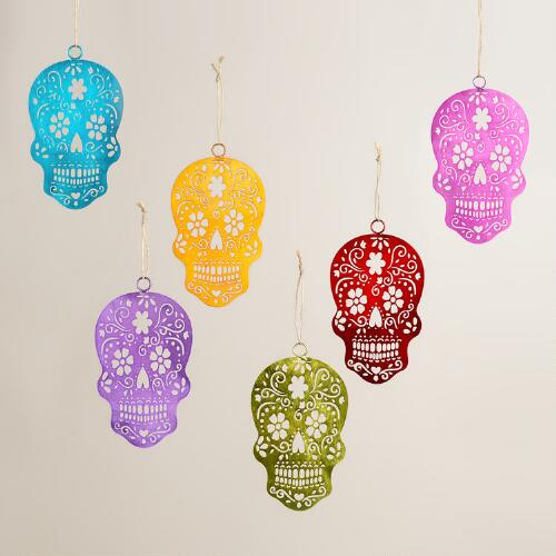 Metallic Los Muertos  Skull Ornaments, Set of 6