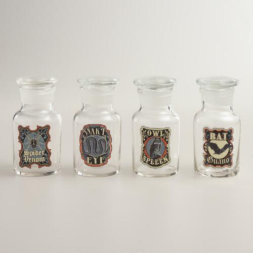 Small Glass Halloween Apothecary Bottles, Set of 4