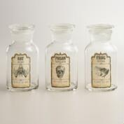 Large Glass Halloween Apothecary Bottles, Set of 3