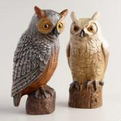 Hand-Painted Wild Owls, Set of 2