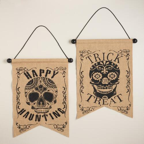Burlap Los Muertos Skull Wall Decor, Set of 2