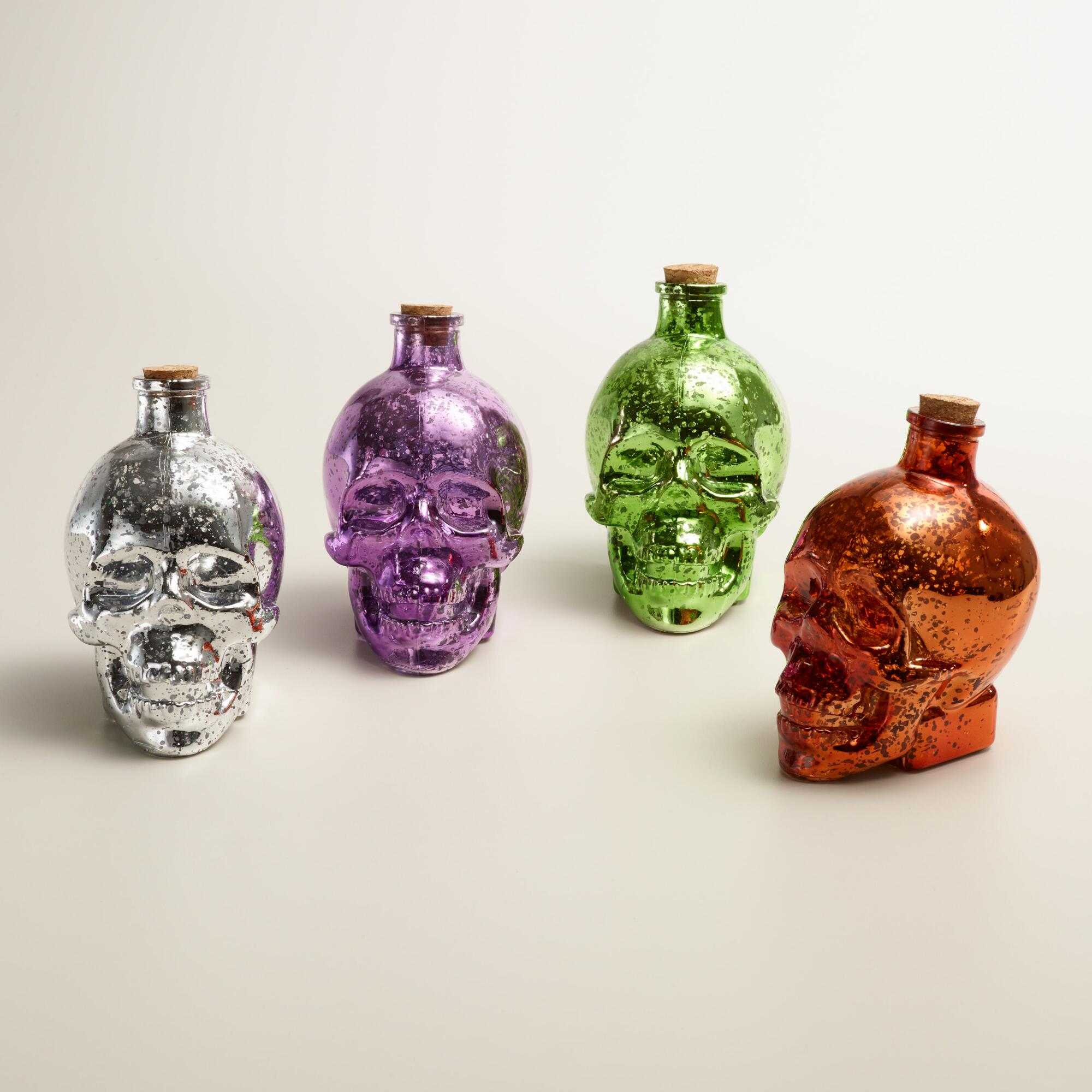 Mercury Glass Skull Bottle Decor Set Of 4 World Market