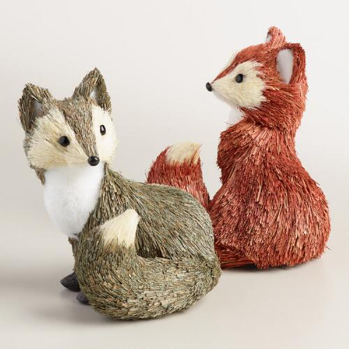 Natural Fiber Foxes, Set of 2