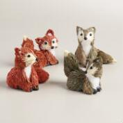 Mini Natural Fiber Foxes, Set of 4