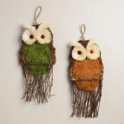 Natural Fiber Owl Wall  Decor, Set of 2
