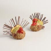 Mini Natural  Fiber Turkeys, Set of 2
