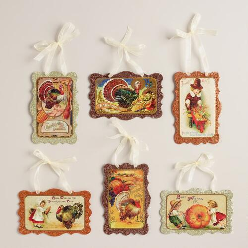 Thanksgiving Vintage-Style Postcard Ornaments, Set of 6