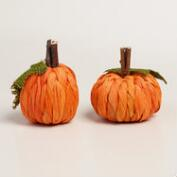 Mini Cornhusk Pumpkins, Set of 2