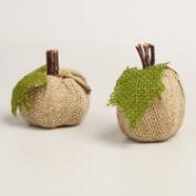 Mini Burlap Pumpkins, Set of 2