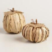 Medium Natural Fiber Pumpkins, Set of 2