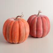 Large Whitewashed Pumpkins, Set of 2