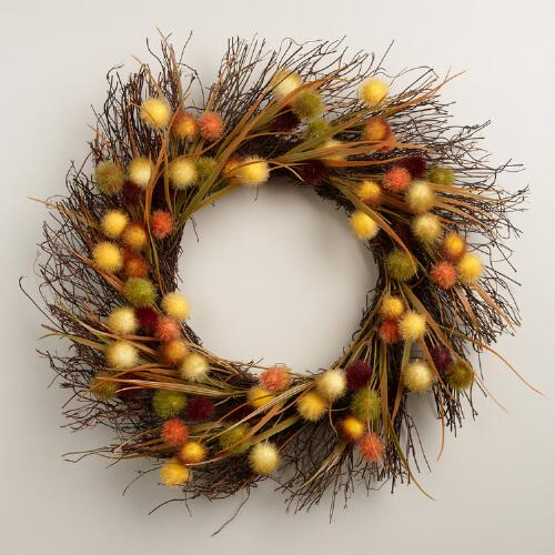 Fall Wreath with Puff Balls