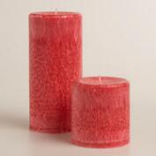 Red Sugared Berry Pillar Candle