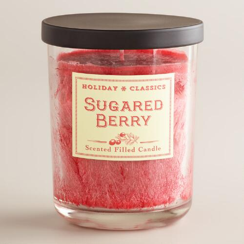 Red Sugared  Berry Filled Jar Candle