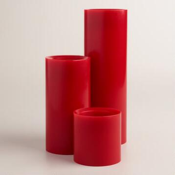 Red LED Pillar Candle