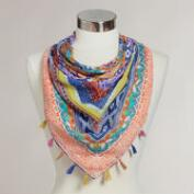 Square Geometric Scarf with Fringe