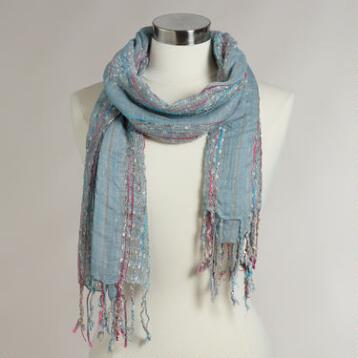 Light Blue Woven Scarf