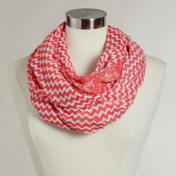 Extra-Wide Coral and White Chevron Infinity Scarf
