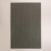 Serged Border Charcoal Jacquard Weave Sisal Area Rug
