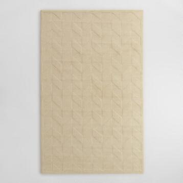 Ivory Chevron Carved Wool Bennet Area Rug