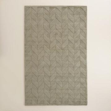 Gray Chevron Carved Wool Bennet Area Rug
