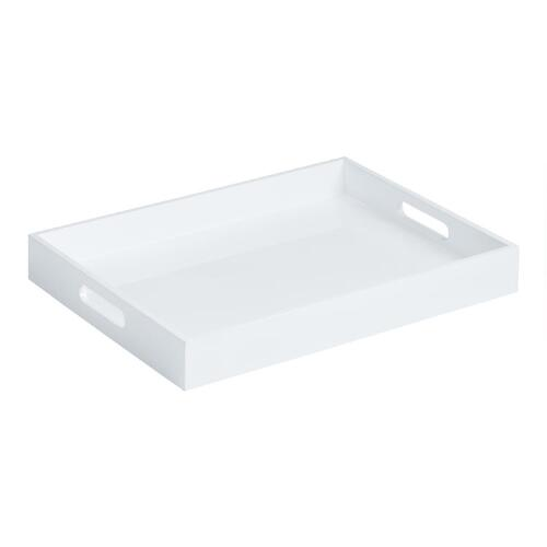 White Rectangular Lacquer Serving Tray