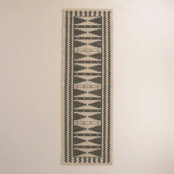 2.5'x8' Gray Wool Kilim Mudrita Floor Runner