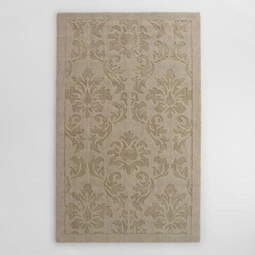 Gray Floral Carved Wool Adele Area Rug